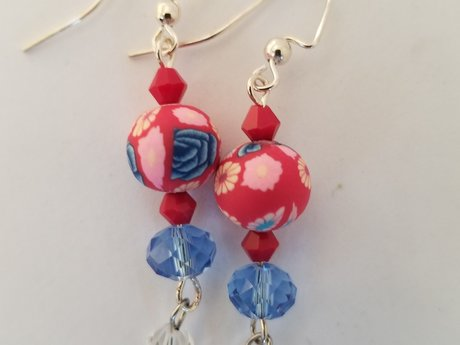 Pink Red Blue Sparkle Earrings