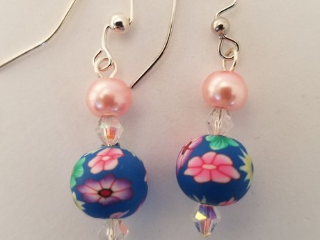 Flowers & Pink Pearl Earrings