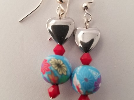 Light Blue Heart Earrings