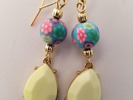 Yellow Charm Flower Earrings 1