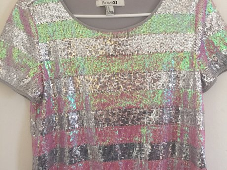 Pink & Silver Sequin Top