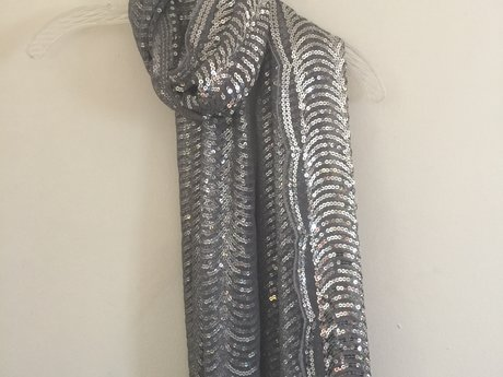 Silver Sequin Scarf