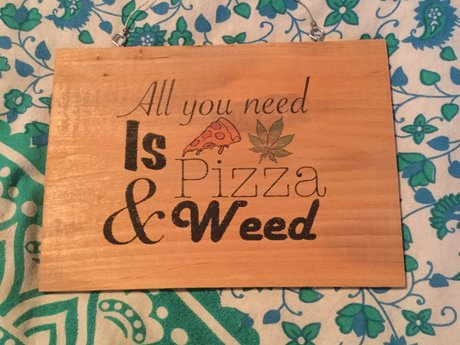 Pizza and weed sign