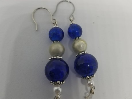 Blue Pearl Drop Earrings