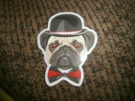 Hipster Pug sticker