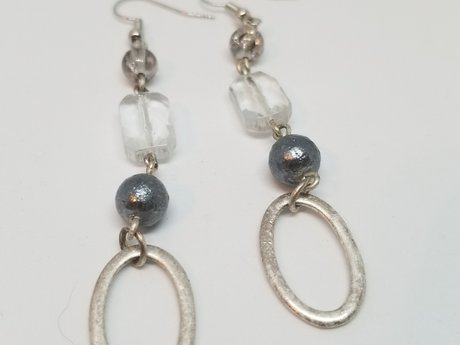 Upcycled Silver and Black Dangles