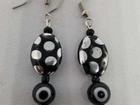 Polka-dotted Lucky Eye Earrings