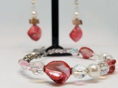 Pink Stone Bracelet Earring Set