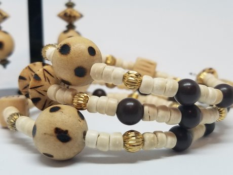 Wood Bead Bracelet and Earrings