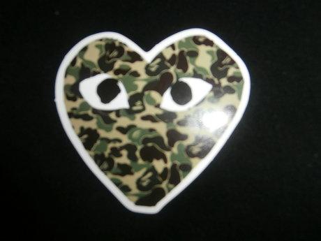 camo heart sticker