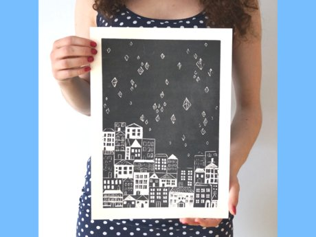 Original Linoprint, Starry Night