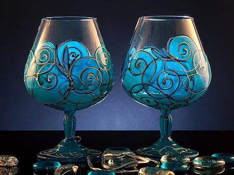 Hand painted glass:wine/beer/water