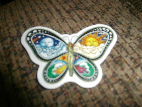 Hippie Butterfly Woman Sticker