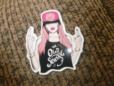 Pink Haired Gangsta girl sticker