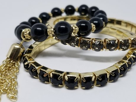 Gold and Black Stretch Bracelets