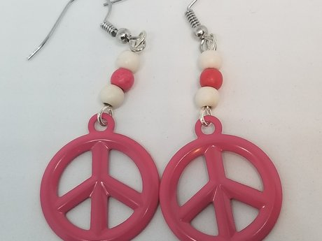 Pink and White Peace Charm Earrings