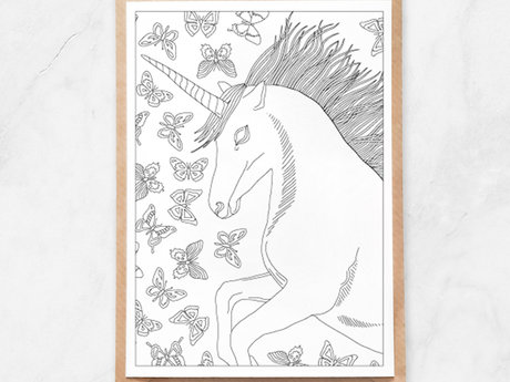 Adult Coloring Postcard, Unicorn