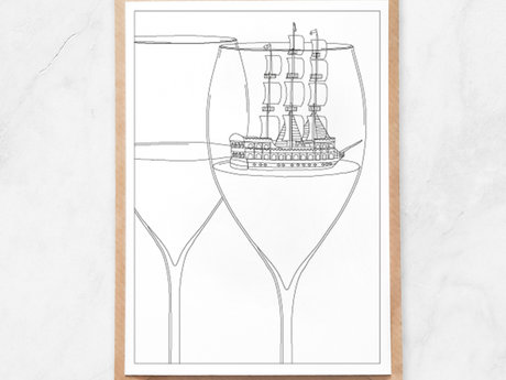 Adult Coloring Postcard, Wine