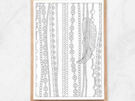 Adult Coloring Postcard, Beads Lace