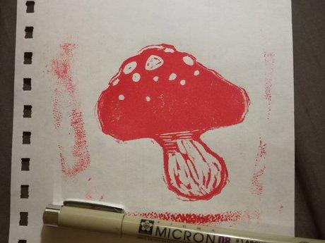 Poisonous mushroom stamp
