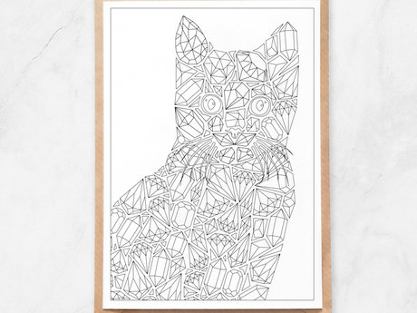 Adult Coloring Postcard, Cat Gems