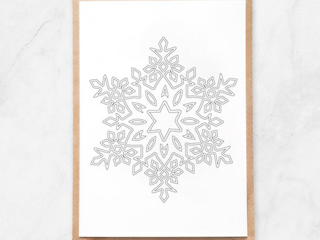 Adult Coloring Postcard, Snowflake