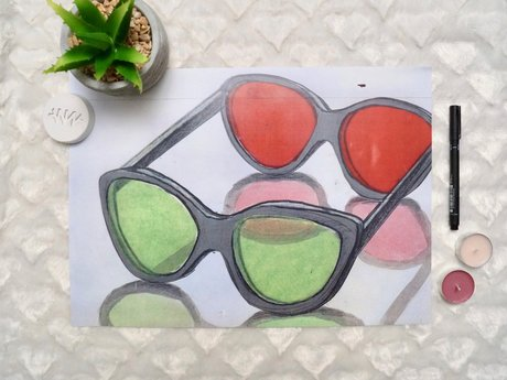 Art Print, 3D Glasses Illustration