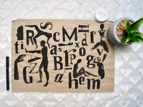 Brush Lettering Typography Painting