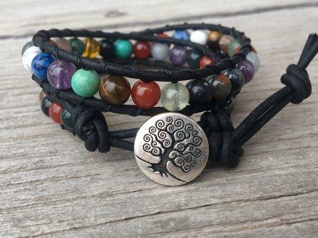 Gemtone Leather Wrap Bracelet