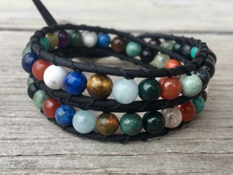 Gemstone Leather Wrap Bracelet M