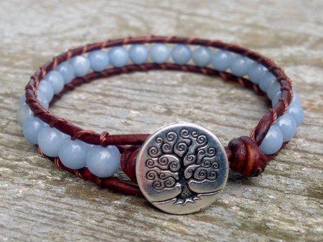 Angelite Beaded Leather Bracelet