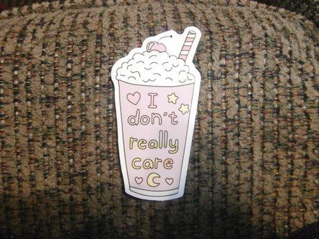 i don't care Latte sticker
