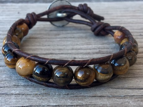 RESERVEDTiger eye leather bracelet