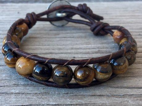 RESERVEDTiger eye leather bracelet