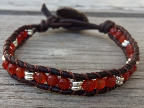 Carnelian leather wrap bracelet