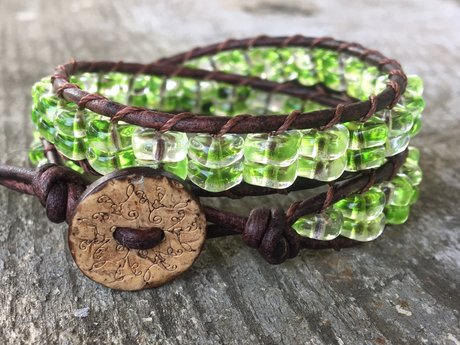 RESERVED green leather bracelet