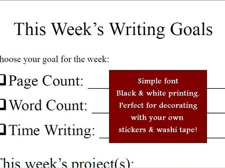 Weekly Writing Sheet - Plain