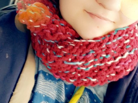 Homemade knitted scarf