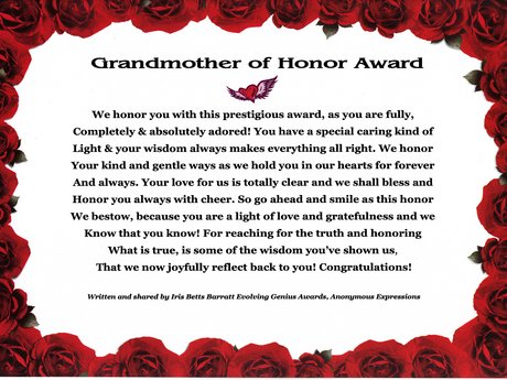 Award of Honor for Mother/ GrandMom