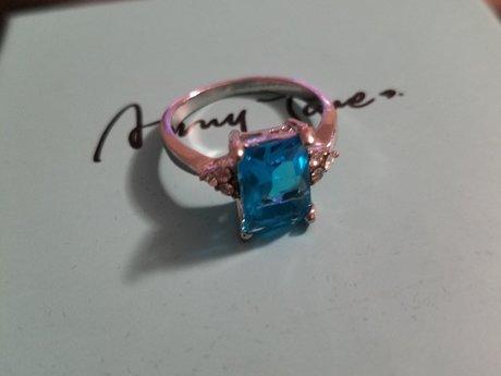 """""""Sea Stone"""" Silvertone Ring"""