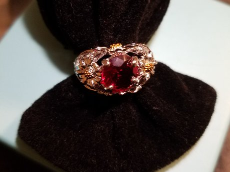 Ruby Colored Daisy Ring