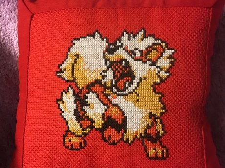 Cross Stitch Pokemon Throw Pillow