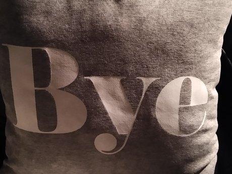 Hi / Bye gray Pillow
