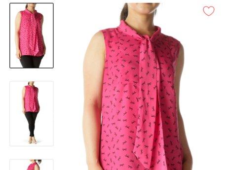 Pink Sleeveless Tunic with Bow Patt