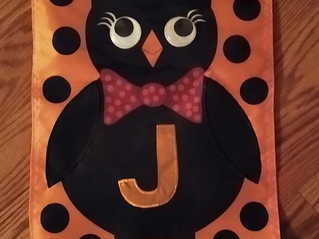 Small Owl Halloween Flag - J