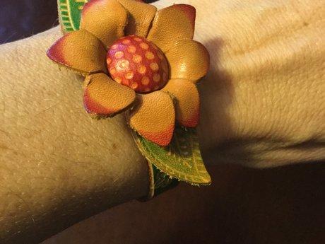 Artist made flower bracelet