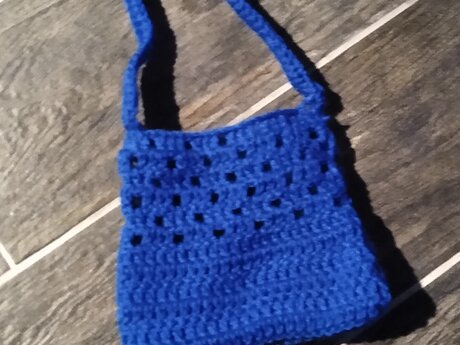 Small Crocheted Blue Purse