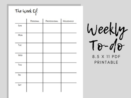 Letter Sized Weekly Calendar