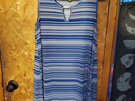 Blue and Cream striped dress M