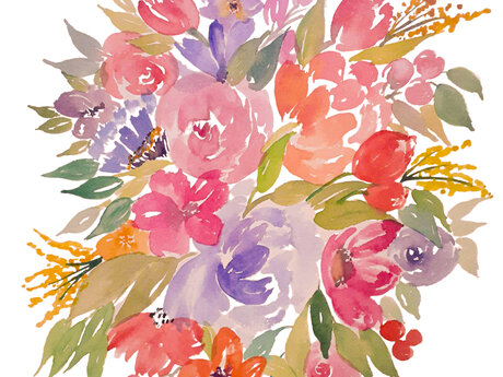 Digital custom floral watercolor